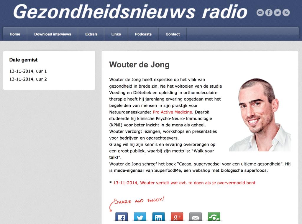 Gezondheidsnieuws radio met Wouter de Jong
